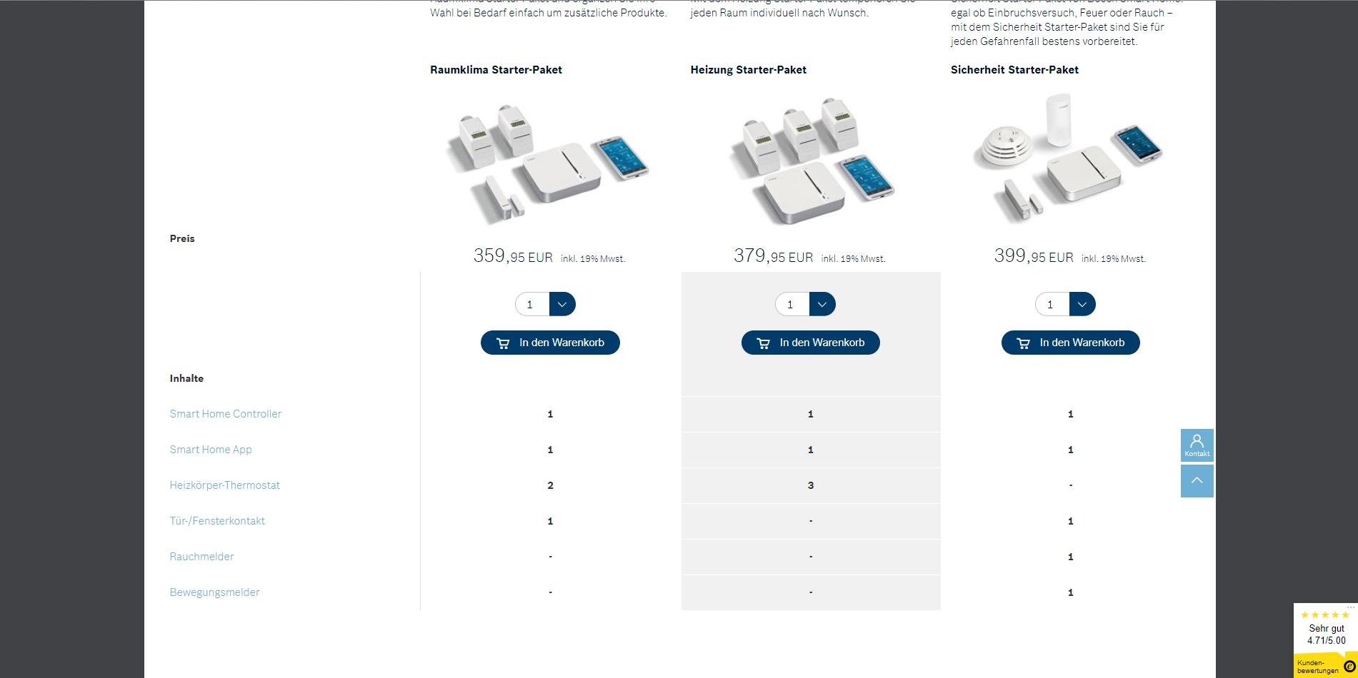 Bosch Smart Home Anbieter Starter Pakete Screenshot 3 Azu
